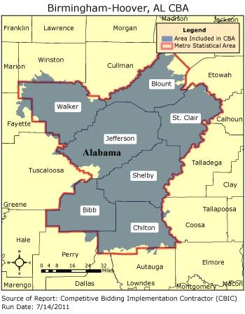Birmingham Zip Code Map CBIC   Round 2   Competitive Bidding Area   Birmingham Hoover, AL