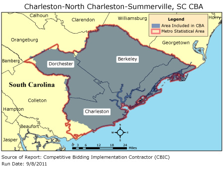 Map Of Summerville Sc CBIC   Round 2   Competitive Bidding Area   Charleston North  Map Of Summerville Sc
