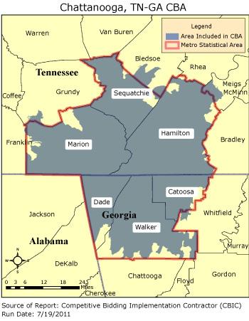 Chattanooga Zip Code Map CBIC   Round 2   Competitive Bidding Area   Chattanooga, TN GA