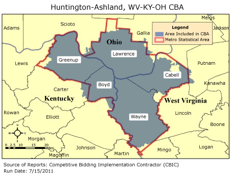 CBIC Round Competitive Bidding Area HuntingtonAshland WV - Map of west virginia and ohio