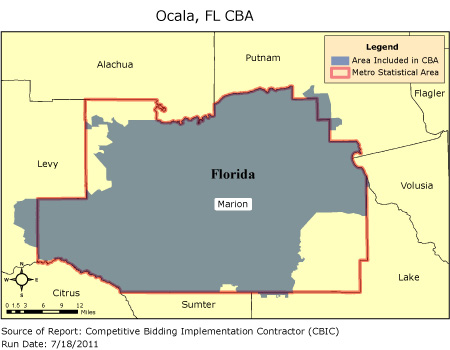 CBIC Round Competitive Bidding Area Ocala FL CBIC CBIC - Ocala florida map
