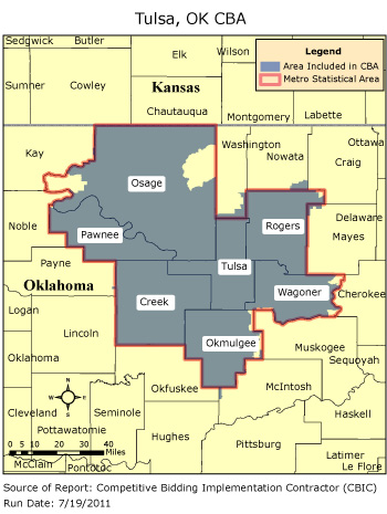 Zip Code Map Tulsa CBIC   Round 2   Competitive Bidding Area   Tulsa, OK, CBIC   CBIC  Zip Code Map Tulsa