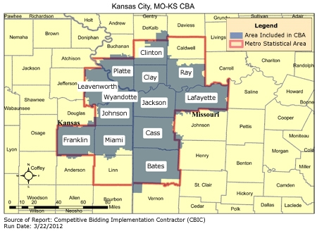 CBIC Round Recompete Competitive Bidding Area Kansas City - Map of cities in missouri