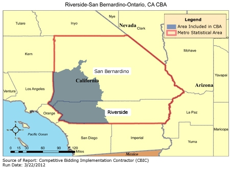 Ontario Ca Map CBIC   Round 1 Recompete   Competitive Bidding Area   Riverside