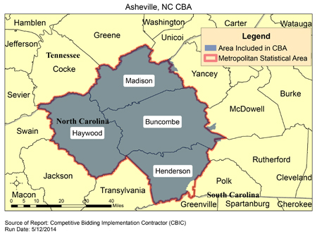 Asheville Zip Code Map CBIC   Round 2 Recompete   Competitive Bidding Area   Asheville