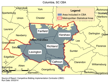 Columbia Zip Code Map CBIC   Round 2 Recompete   Competitive Bidding Area   Columbia, SC