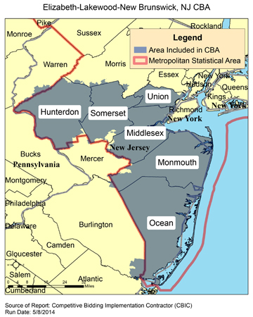 CBIC Round Recompete Competitive Bidding Area Elizabeth - New jersey area code map