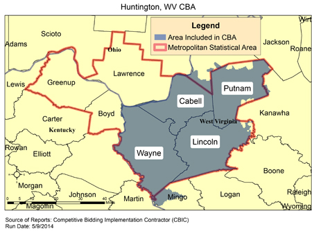 Huntington Wv Zip Code Map.Cbic Round 2 Recompete Competitive Bidding Area Huntington Wv