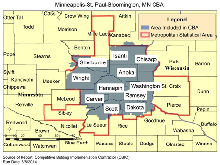 Mpls Zip Code Map.Cbic Round 2 Recompete Competitive Bidding Area Minneapolis St
