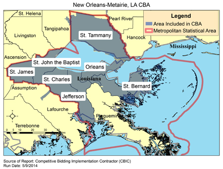 Zip Codes New Orleans Map.Cbic Round 2 Recompete Competitive Bidding Area New Orleans