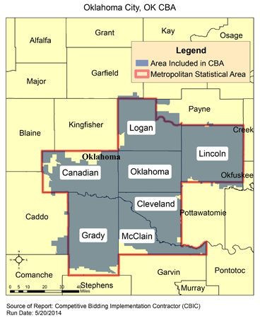 Oklahoma City Ok Zip Code Map.Cbic Round 2 Recompete Competitive Bidding Area Oklahoma City