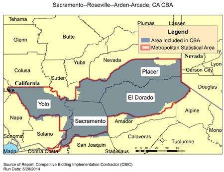 Zip Code Map Sacramento Ca.Cbic Round 2 Recompete Competitive Bidding Area Sacramento