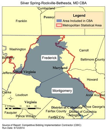 CBIC Round Recompete Competitive Bidding Area Silver - Maryland map bethesda