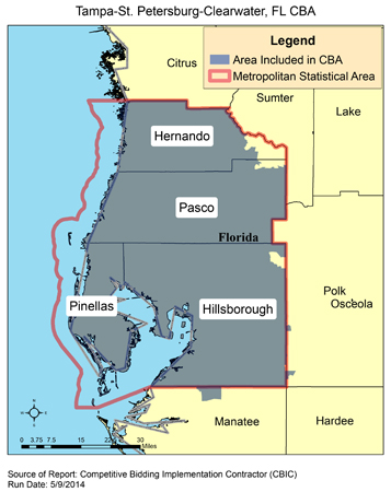 Map Of Florida Showing Clearwater.Cbic Round 2 Recompete Competitive Bidding Area Tampa St